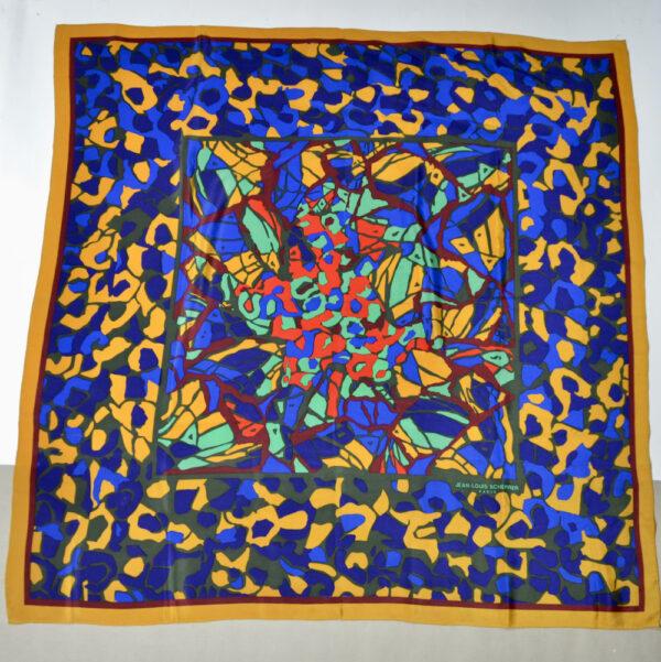 Jean-Louis Scherrer silk shawl vintage french designer silk scarf 1