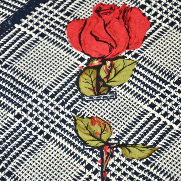 Madeleine de Rauch silk scarf black white houndstooth vintage french vdesigner scarf 1