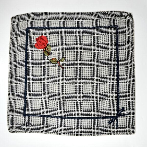 Madeleine de Rauch silk scarf black white houndstooth vintage french vdesigner scarf