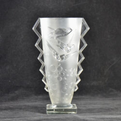 Muller freres luneville vase hirondelles french art deco glass