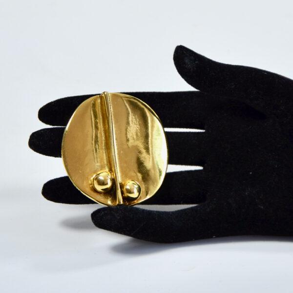 Sydney Carron modernist goldtone French designer brooch large brooch 2