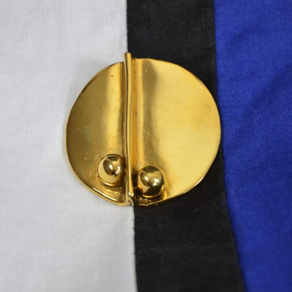 Sydney Carron modernist goldtone French designer brooch large brooch