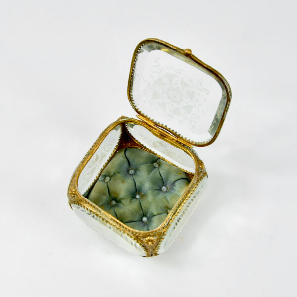 antique 19thc French bevelled glass reliquary jewellery box ormolu napoleon III
