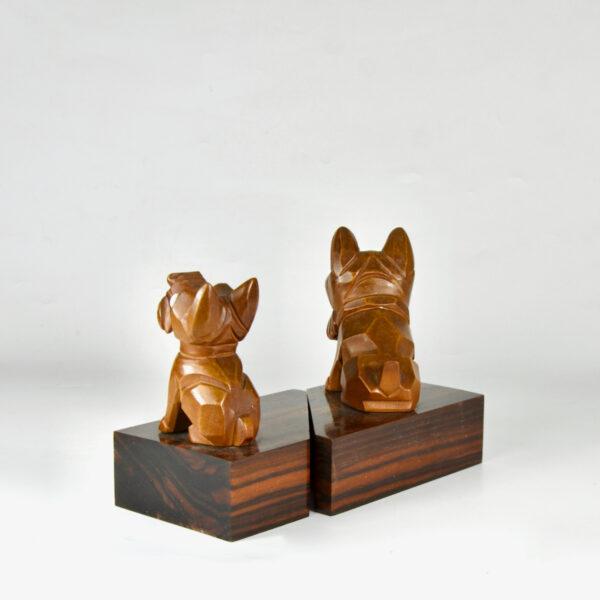 art deco Scottie book ends macassar bakelite Ric and Rac dogs 1930 3