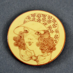 early Lea Stein brooch freckled girl vintage 1970s