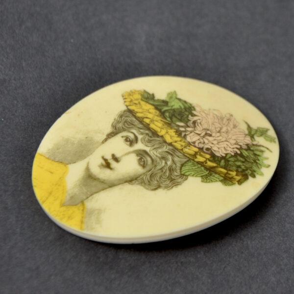 early lea stein attrib serigraphy brooch Belle Epoque portrait 1970s 2