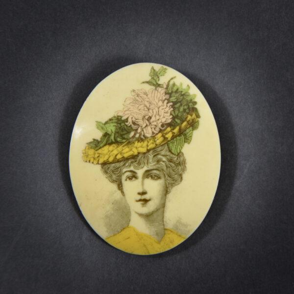 early lea stein attrib serigraphy brooch Belle Epoque portrait 1970s