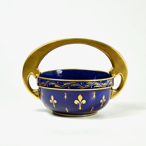 french art-nouveau-porcelain-bowl-by-jaget-pinon-c1920-cobalt-blue-heraldic decor 1