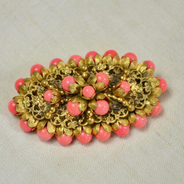 large 1930s gilt brooch Czech glass coral beads 1
