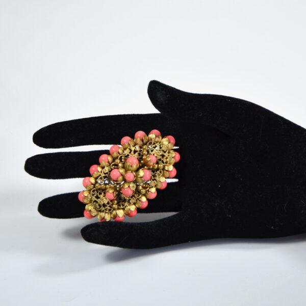 large 1930s gilt brooch Czech glass coral beads art deco brooch 2