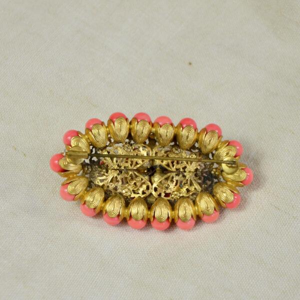 large 1930s gilt brooch Czech glass coral beads art deco brooch 3