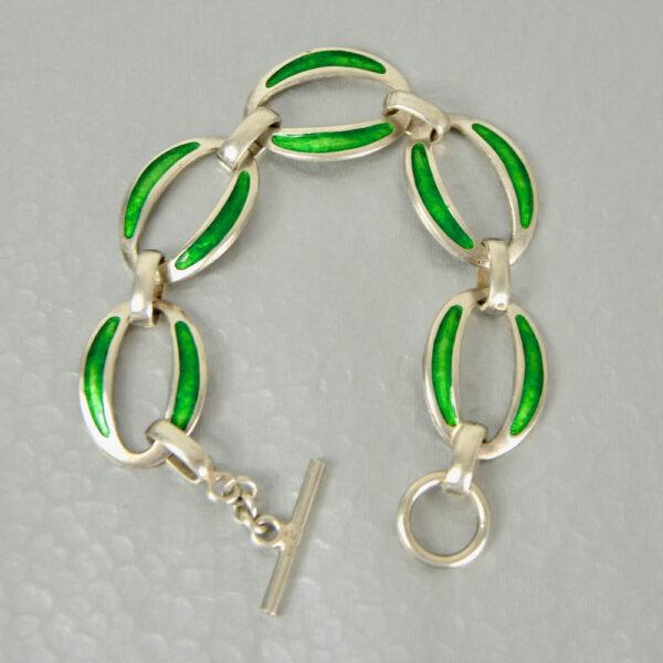 modernist 800 silver enamel bracelet green enamel link bracelet 1