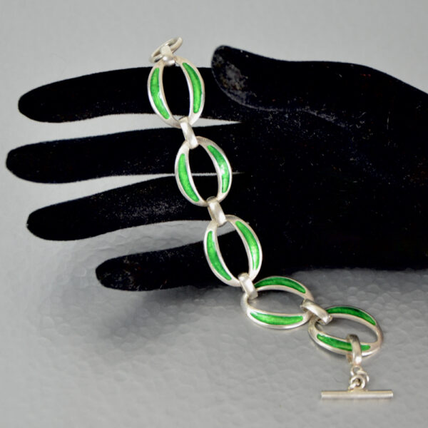 modernist 800 silver enamel bracelet green enamel link bracelet 3
