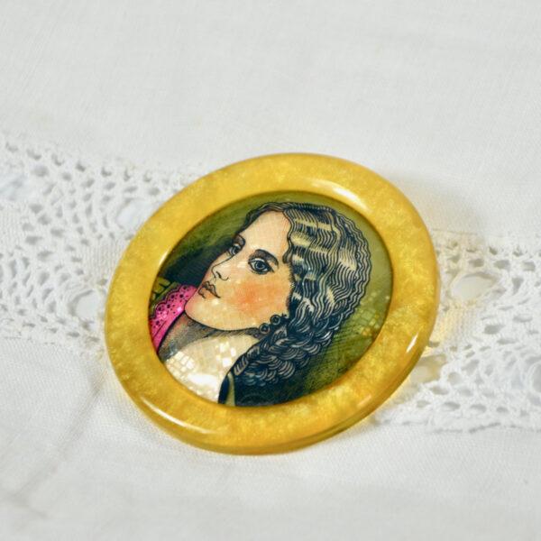 vintage 1970s Lea Stein brooch mosaic portrait 2