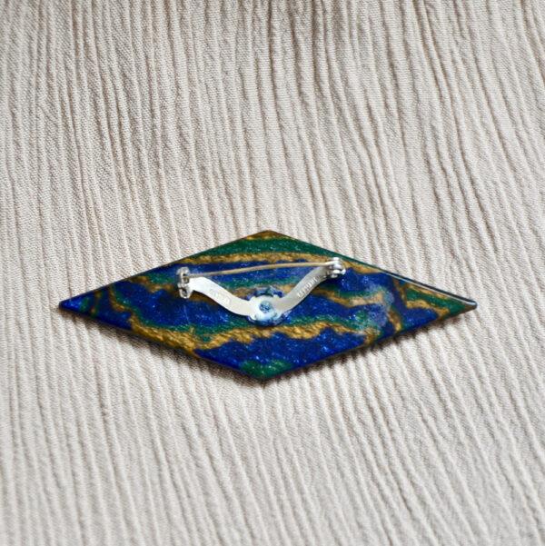 Early Lea Stein geometric brooch blue brown black swirl 1