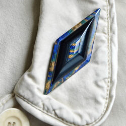 Early Lea Stein geometric brooch blue brown black swirl 3