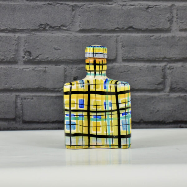 Keraluc Quimper mid century whisky flask 1950s French ceramic