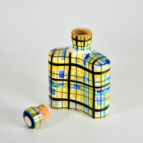 Keraluc Quimper mid century whisky flask 1950s French ceramic 7