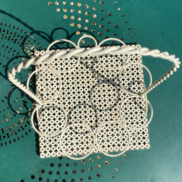 1950s drinks carrier attributed to Mathieu Mategot perforated metal 8 glasses holder (1)