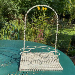 1950s drinks carrier attributed to Mathieu Mategot perforated metal 8 glasses holder