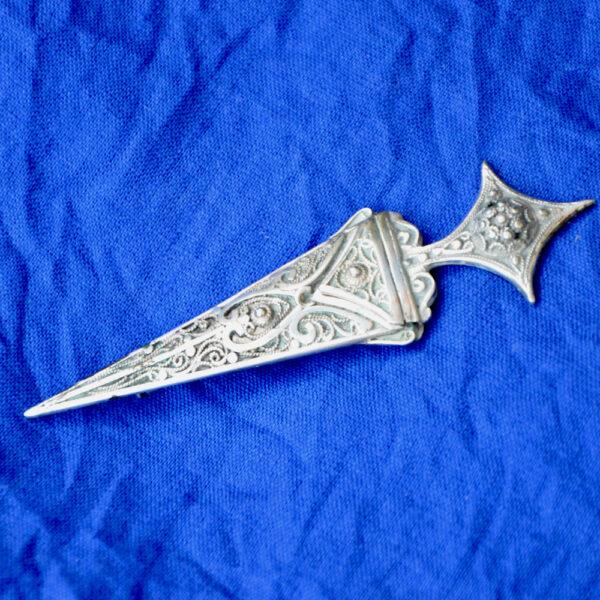 Antique Berber silver filigree dagger brooch 1