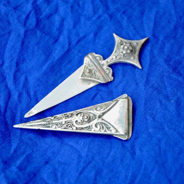 Antique Berber silver filigree dagger brooch 5
