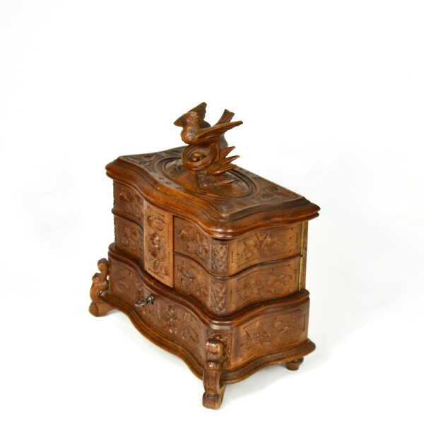 Antique Black Forest jewellery box, c1890-1920 (2)