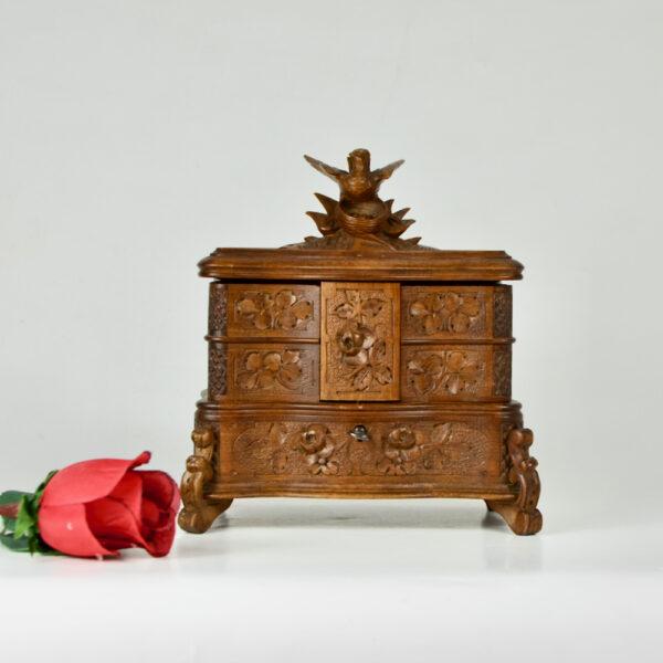 Antique Black Forest jewellery box, c1890-1920 (6)