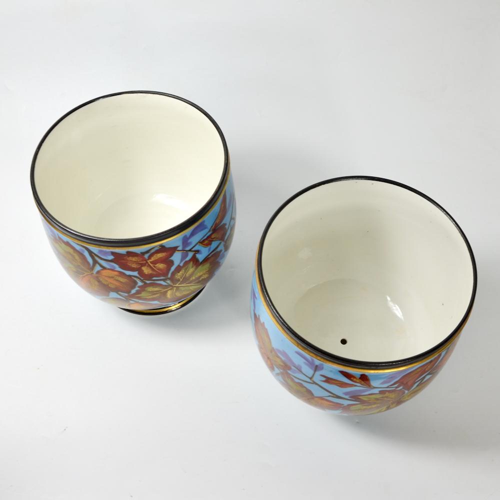 Antique Cachepots in hand painted Paris porcelain pair of 19thc cache-pots (1)