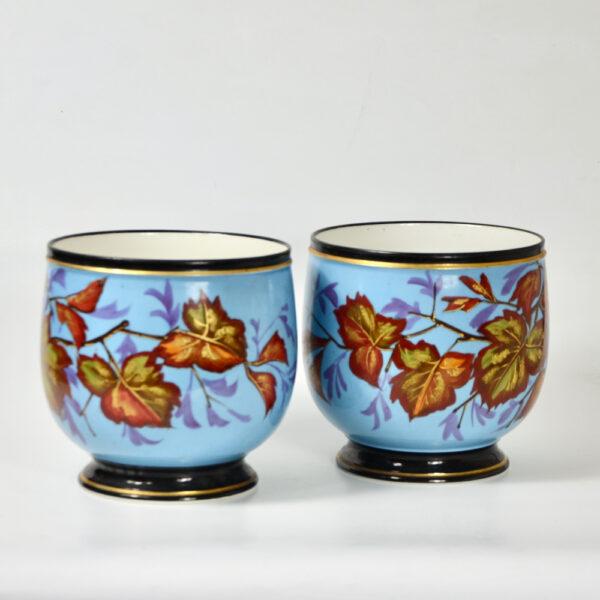 Antique Cachepots in hand painted Paris porcelain pair of 19thc cache-pots (2)