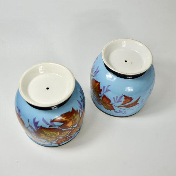 Antique Cachepots in hand painted Paris porcelain pair of 19thc cache-pots (3)