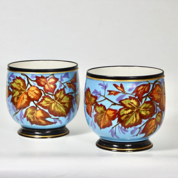 Antique Cachepots in hand painted Paris porcelain pair of 19thc cache-pots