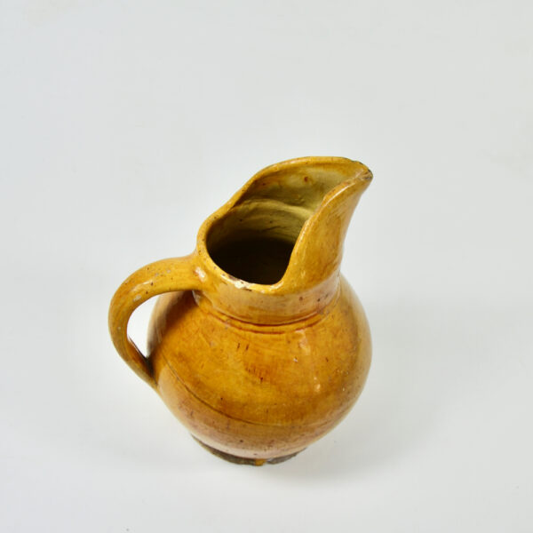 Antique French cruche water jug with mustard yellow glaze 4