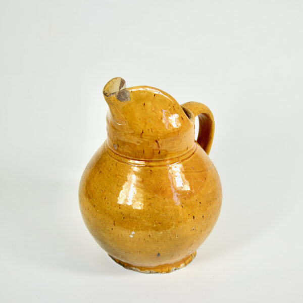 Antique French cruche water jug with mustard yellow glaze 6