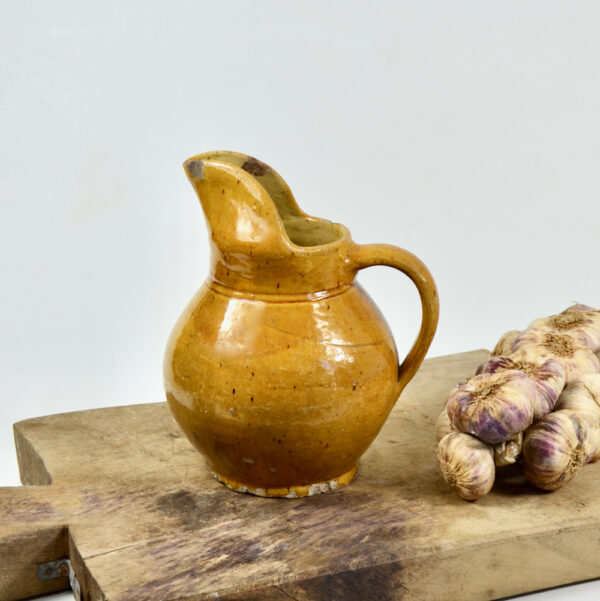 Antique French cruche water jug with mustard yellow glaze