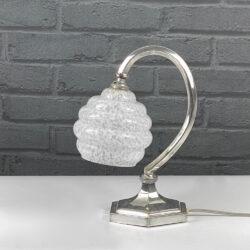 Art Deco bauhaus lamp chrome and marbled glass 1930 (3)