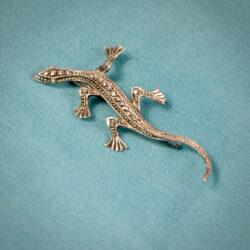 Art Deco silver marcasite lizard brooch 835 silver Germany (1)
