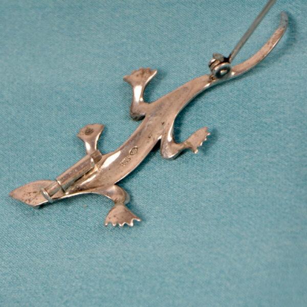 Art Deco silver marcasite lizard brooch 835 silver Germany (2)