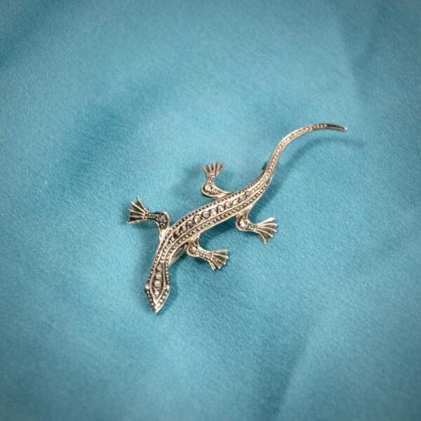 Art Deco silver marcasite lizard brooch 835 silver Germany