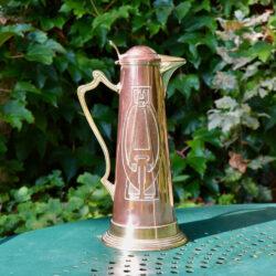 Art Nouveau copper and brass wine jug c1900 (6)