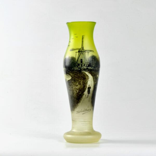 Art Nouveau enamelled uranium glass vase by Michel, Nancy absinthe green c1900