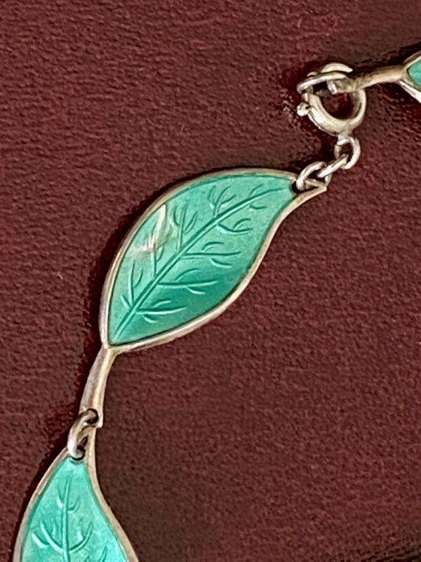 David Andersen Norway sterling silver enamel green leaf necklace 1950s 1960s (2)