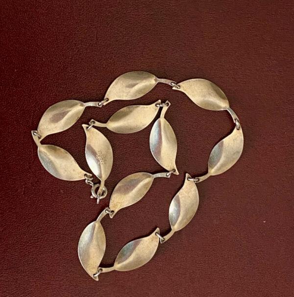 David Andersen Norway sterling silver enamel green leaf necklace 1950s 1960s (3)