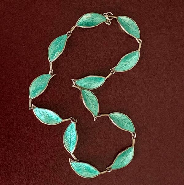 David Andersen Norway sterling silver enamel green leaf necklace 1950s 1960s