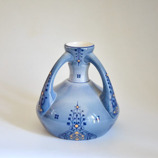 Fives Lille Art Nouveau vase blue 3 handled pottery vase 1910-1920 (1)