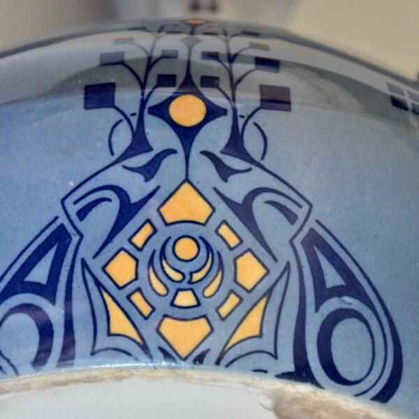 Fives Lille Art Nouveau vase blue 3 handled pottery vase 1910-1920 (2)