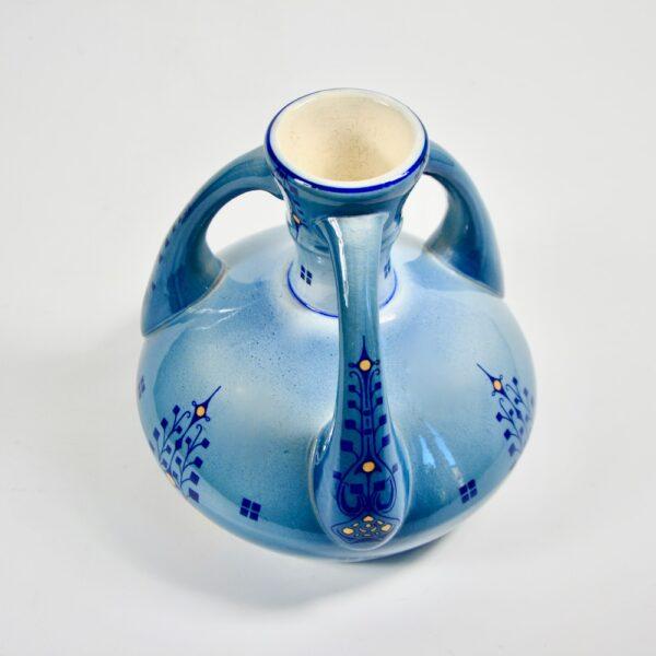 Fivee Lille Art Nouveau vase blue 3 handled pottery vase 1910-1920 (4)
