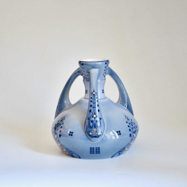 Five Lilles Art Nouveau vase blue 3 handled pottery vase 1910-1920