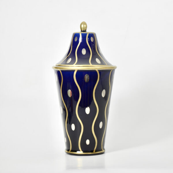 Gustave Asch Art Deco vase with lid Sainte Radegonde blue silver and gold 20thc French faience x