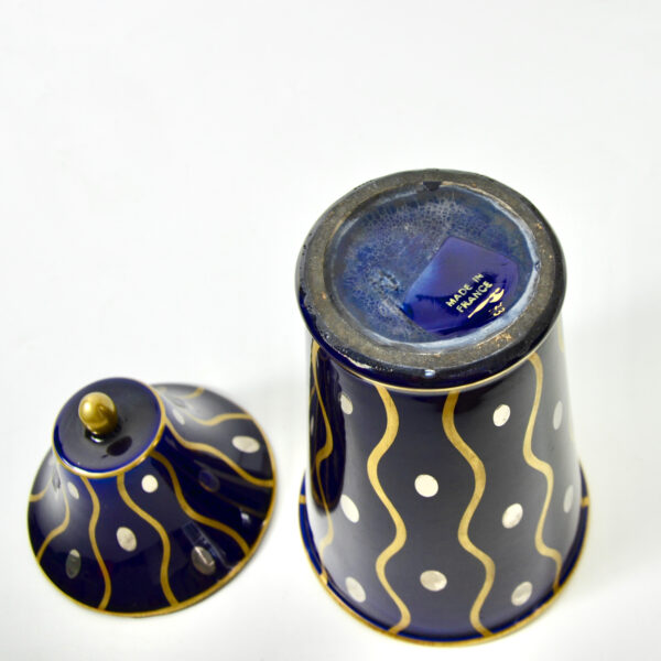 Gustave Asch Art Deco vase with lid Sainte Radegonde blue silver and gold 20thc French pottery 4